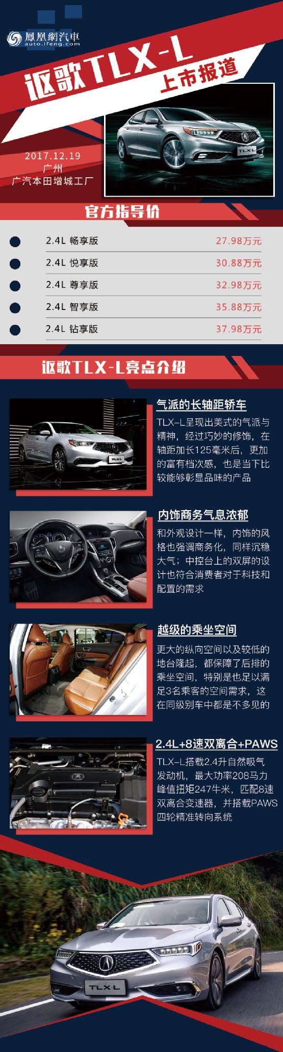 讴歌TLX-L正式上市 售27.98-37.98万元_凤凰网汽车_凤凰网