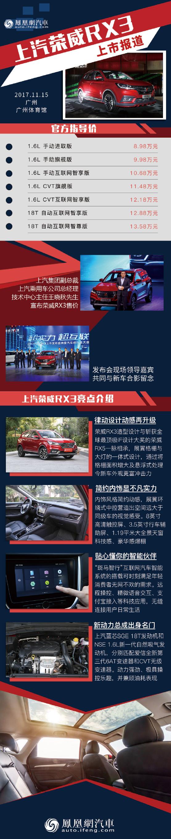 荣威RX3正式上市 售价8.98-13.58万元_凤凰网汽车_凤凰网