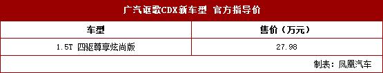 讴歌CDX四驱尊享炫尚版上市 售27.98万