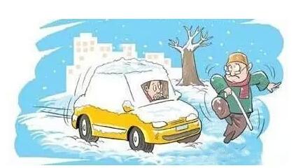 """马上要下雪啦,可爱车准备好走""""雪路"""